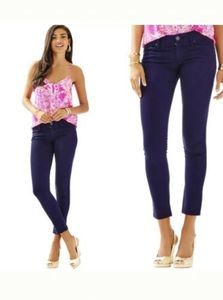 Lilly Pulitzer Worth Skinny Navy Blue Sateen Pants